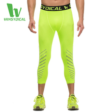 Men's Reflective Compression Pants Fitness Cropped Trousers Quick Dry Breathable Gym Leggings Running Tights Summer 2016