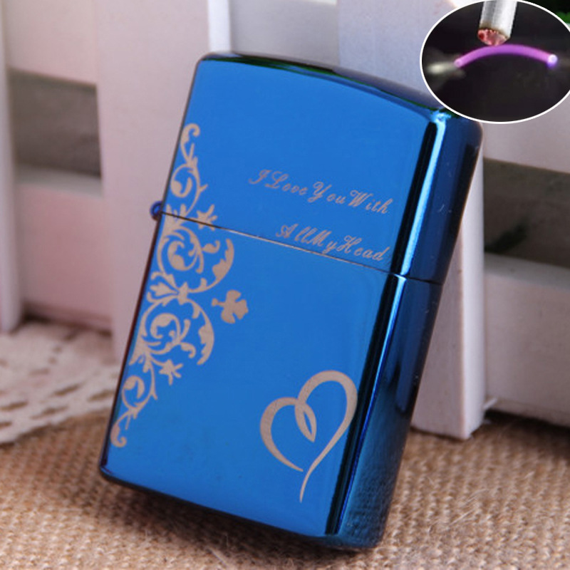 High Quality Windproof Metal Case Pulsed ARC Electronic USB Rechargeable Lighter Customized Pattern(China (Mainland))