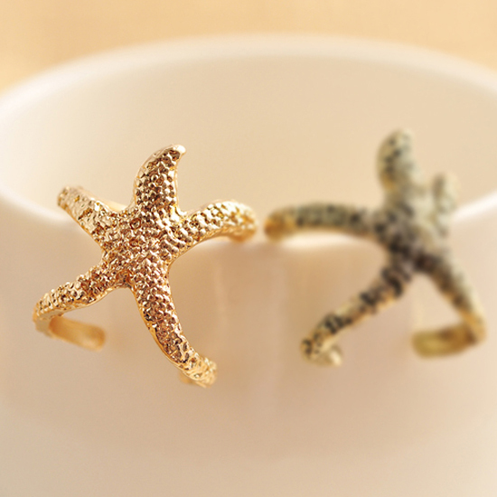 2014 New Design Fashion Vintage Rings Jewerly Cute Starfish Finger Rings for Women Wholesale(China (Mainland))