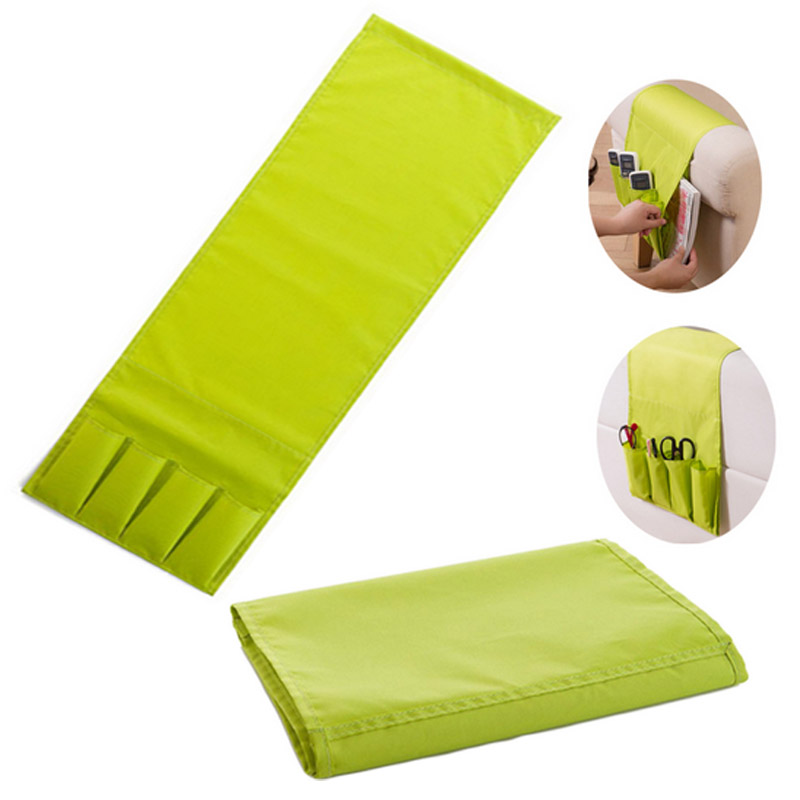 4 Pockets Sofa Arm Rest Remote Control Holder table bag TV Remote Control Organizer for Cell Phones Sundries Zakka Storage Pouch(China (Mainland))