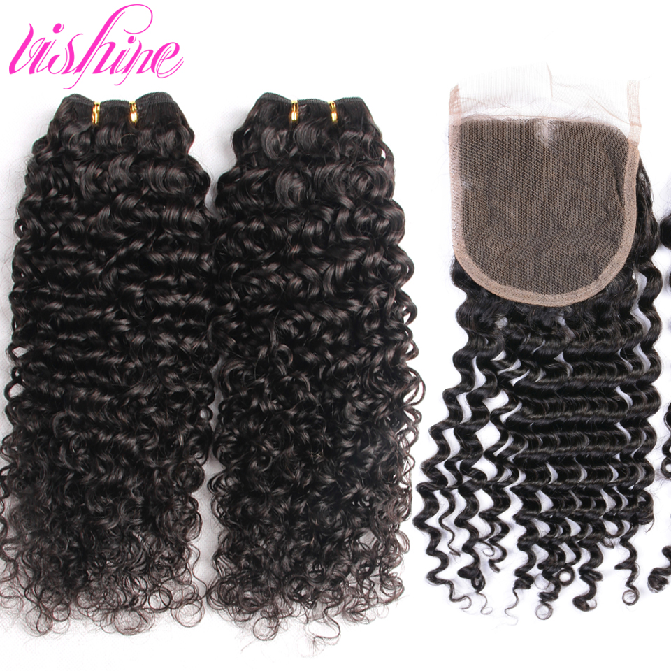 Brazilian Curly Virgin Hair With Human Hair Lace Closure 4 Bundles Lot Brazilian Virgin Hair With Closure Curly Virgin Hair