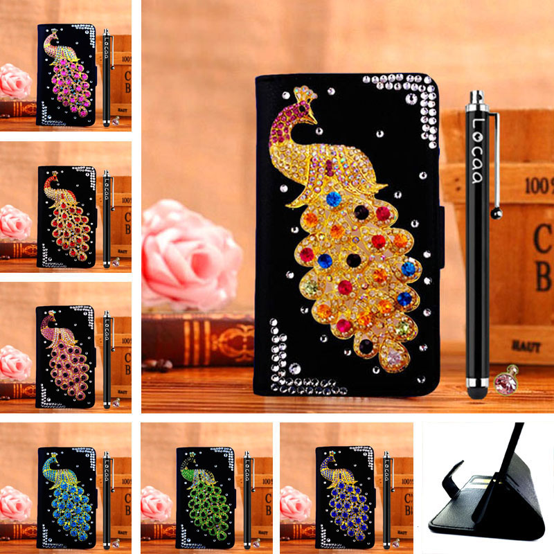 3D Bling Leather Rhinestone Retro Business Stand Handmade Protector Shell Cover Cases For Microsoft Lumia 532 [Peacock 1](China (Mainland))