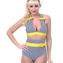 New 2016 Women Vintage Sexy High Waist Bikinis Set Swimsuit Swimwear Push Up Bathing Suit Striped Beachwear Bikini LB5001