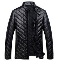 Genuine leather clothing male stand collar sheepskin jacket New Men's Fashion Sheepskin Down Coat Real Leather Jacket Winter(China (Mainland))