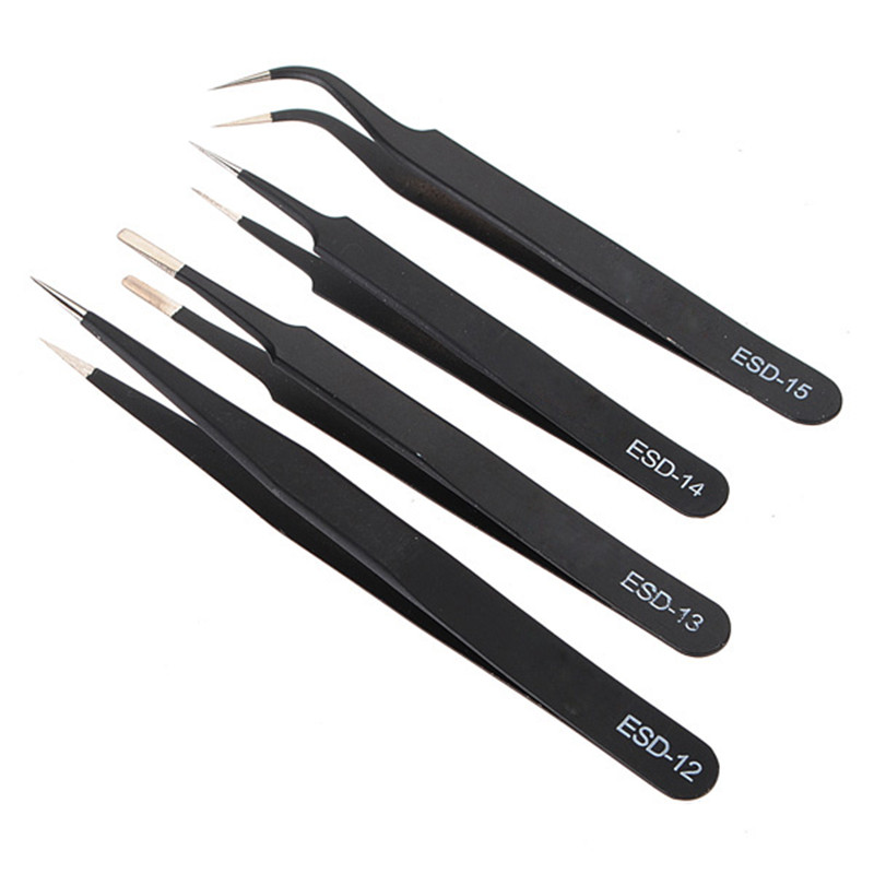 2016 Hot ! New Arrival 4pcs Safe Anti-static Tweezers Maintenance Repair Nippers Tools Kit ESD Hot Sale(China (Mainland))
