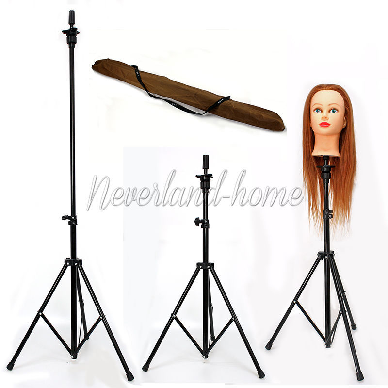 Free EMS Shipping Black Tripod Stand Training Mannequin Head Display Adjustable Holder +Carry Bag(China (Mainland))