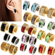 Buy Punk Stainless Steel Zircon Earrings Hoop Ear Studs Men/Women Zircon 316L Stainless Steel Hoop Earrings Unisex Gold Silver for $1.27 in AliExpress store