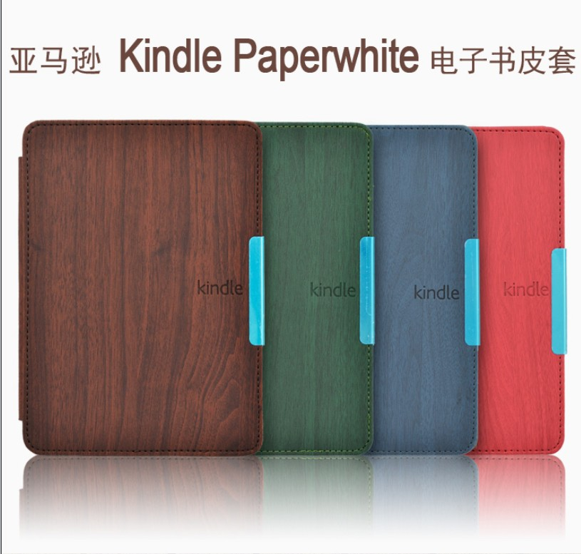 Wood Pattern leather cover case funda Amazon Kindle Paperwhite 1/2/3 (2012 2013 2014 2015 versions) 6'' ereader+film+stylus - Shy Bear Tablet&Ereader accessory store