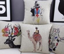 Exotic African Graffiti,Camel Deer Linen cushion,pillowcase