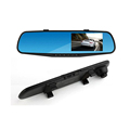 Free Shipping 4 3 Dual Lens Video Recorder Dash Cam Rearview Mirror Car Camera Waterproof DVR