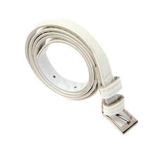 Ladies Skinny PU Leather Belt Dress Belt – White