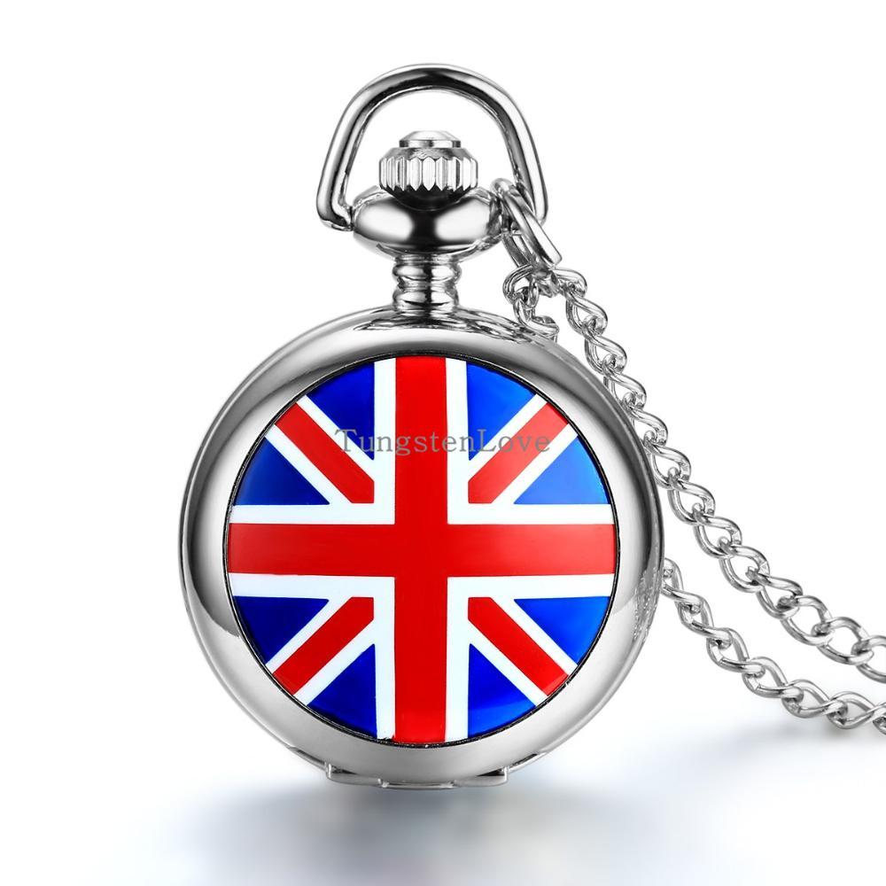 New 31mm Mens Ladies Enamel British Flag Union Jack Pendant Pocket Necklace Quartz Pocket Watches 78cm Chain(China (Mainland))