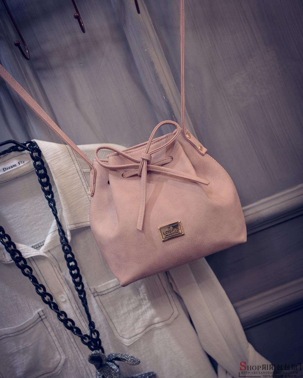 2016 new tide bow bag leisure Bucket Bag Fashion Shoulder Bag Messenger Bag Satchel simple woman