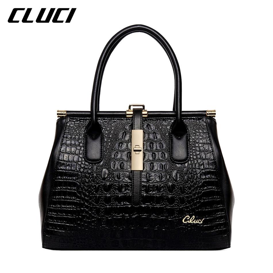 CLUCI Women Casual Tote Handbags Zipper Genuine Leather Medium Alligator Luxury Designer Bags Women Purses High Quality<br><br>Aliexpress
