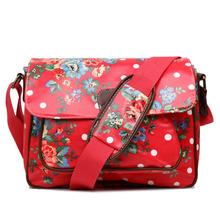Miss Lulu Women Men Polka Dots Floral Flower Print Oilcloth Medium School College Satchel Messenger Bag Christmas Gift(China (Mainland))