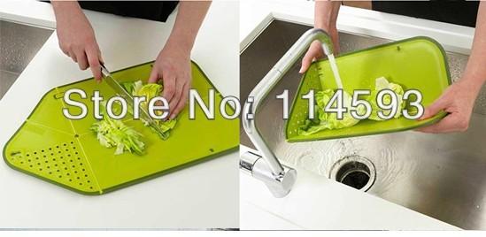 50pcs Free Shipping Multi Functional Kitchen Folding Colander, Chopping, Cutting Board Wholesale Green