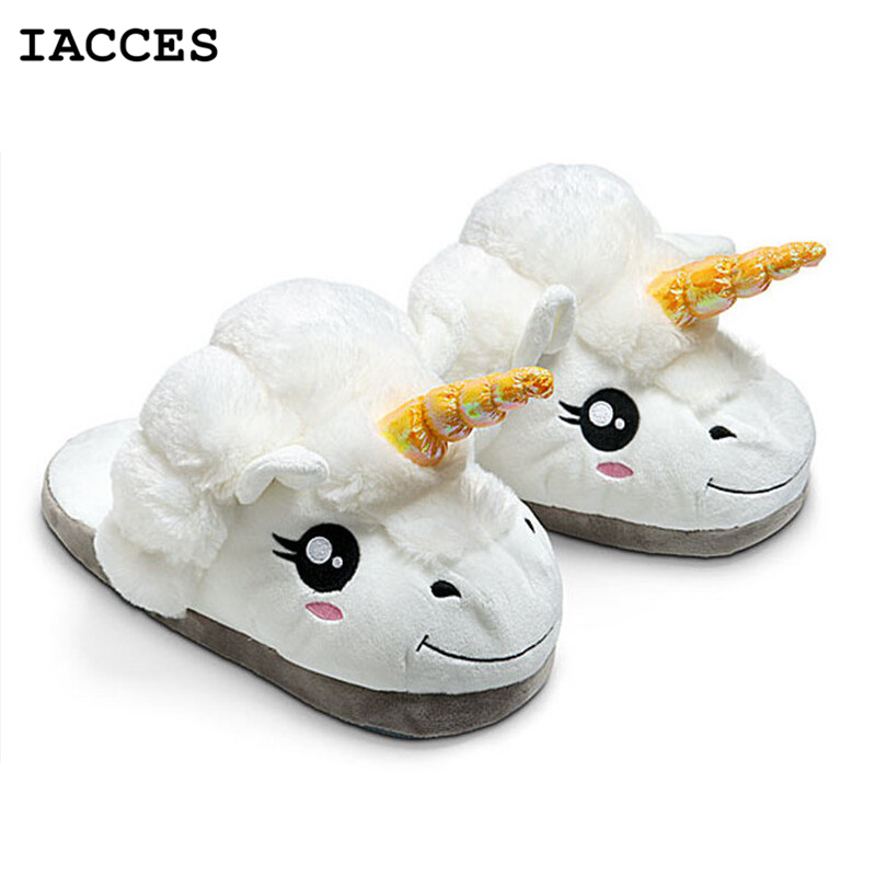 Adults Plush Unicorn Slippers for Grown Cute Cartoon Unisex Home Shoes Licorne Creative Funny Soft Dreamy White Cosplay Pantufas<br><br>Aliexpress