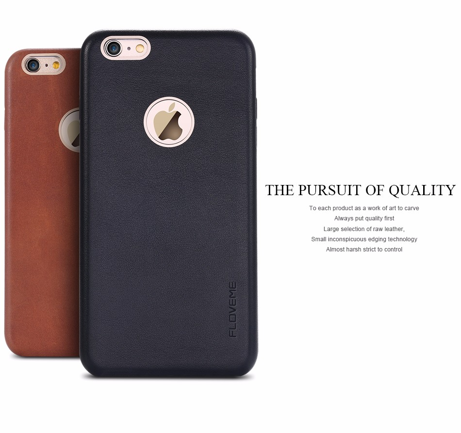 FLOVEME Newest Genuine Leather Protector Phone Cases for iPhone 7 6 6S Plus For Samsung Note 7 Metal Logo Hole Anti-knock Cover