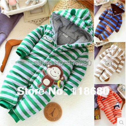 Новый 2015 осень зима ребенка ползунки детские товары новорожденных полосатый хлопка комбинезон мальчик общая дети верхняя одежда детская одежда