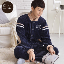 New arriveAutumn And Winter Sports Couples Thickening Full Sleeve Coral Fleece Dark Blue Sleepwear(China (Mainland))
