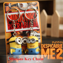 Promotion! Despicable Me 3D Eye Small Minions Figure Cartoon Movie Key Chain 2015 New Halloween Gift Hanging Ornaments 2Pcs/Lot(China (Mainland))
