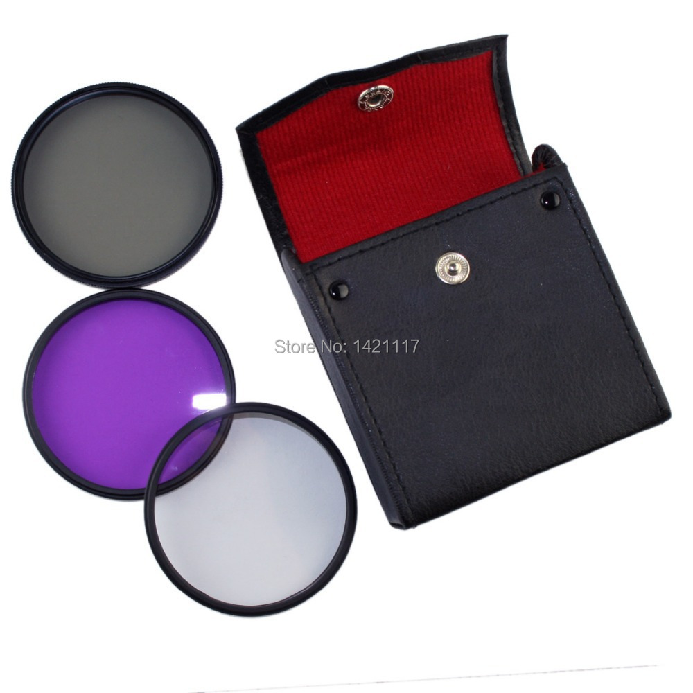 3 in 1 Filter Case Bag + 82mm CPL UV FLD lens fiter filters kit for SLR DSLR camera for Canon Nikon D7000 Sony Olympus(China (Mainland))