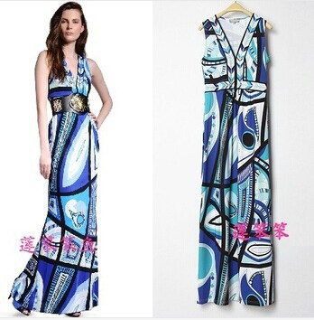 free shipping 2014 women's epucci Printing Sexy Deep V-neck Dress Was thin Pinched waist Elasticity Long Dresses(not has belt)