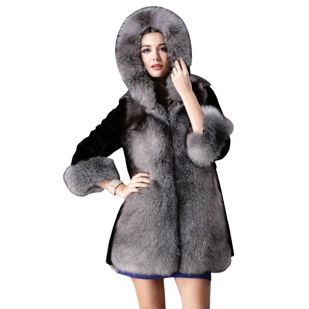 2015 New Winter Women Imitation Mink Faux Fur Coat Jacket Ladies Fashion Hooded Faux Fur Collar Warm Medium-Long Outerwear Parka