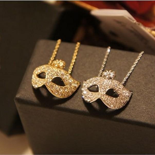 LZ Jewelry Hut N111 N112 The 2014 New Fashion Wholesale Fashion Fox Mask Rhinestone Short Womens Necklace For Women(China (Mainland))