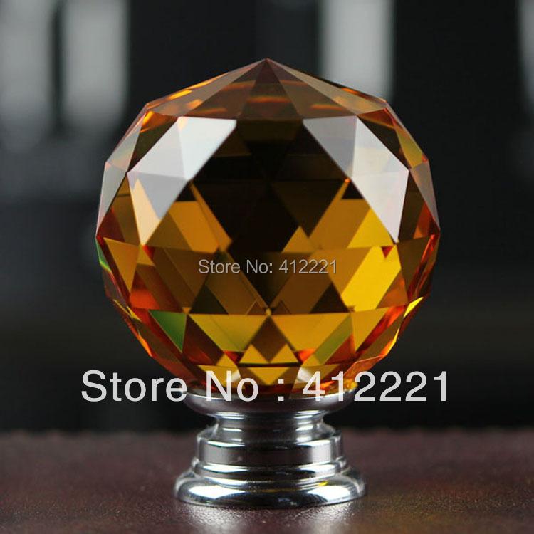 Free shipping 10 Pcs 30mm Wardrobe Hardware Knob Crystal Clear Orange Pull Family / Hotel / Apartment Accessories(China (Mainland))