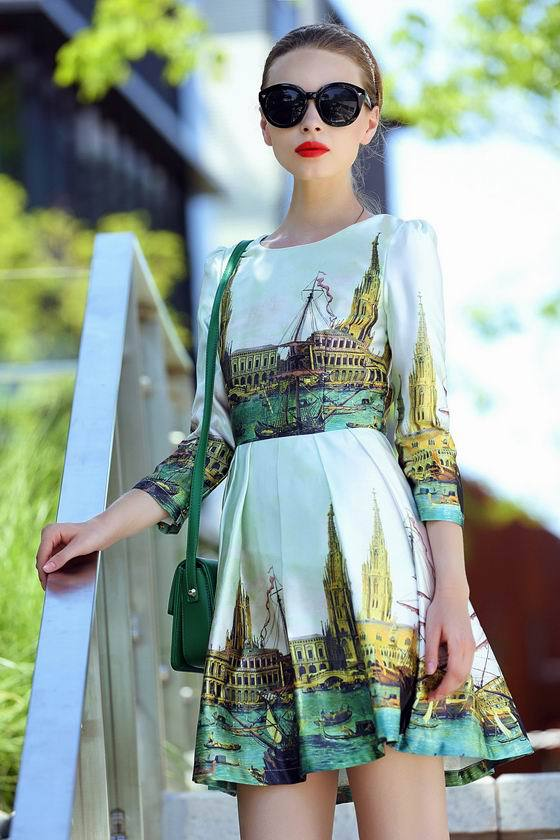 Top Quality New Fashion 2015 Autumn Dress Ladies Vintage Building Print 3/4 Sleeve Elegant Celebrity Inspired Desigual Dress(China (Mainland))