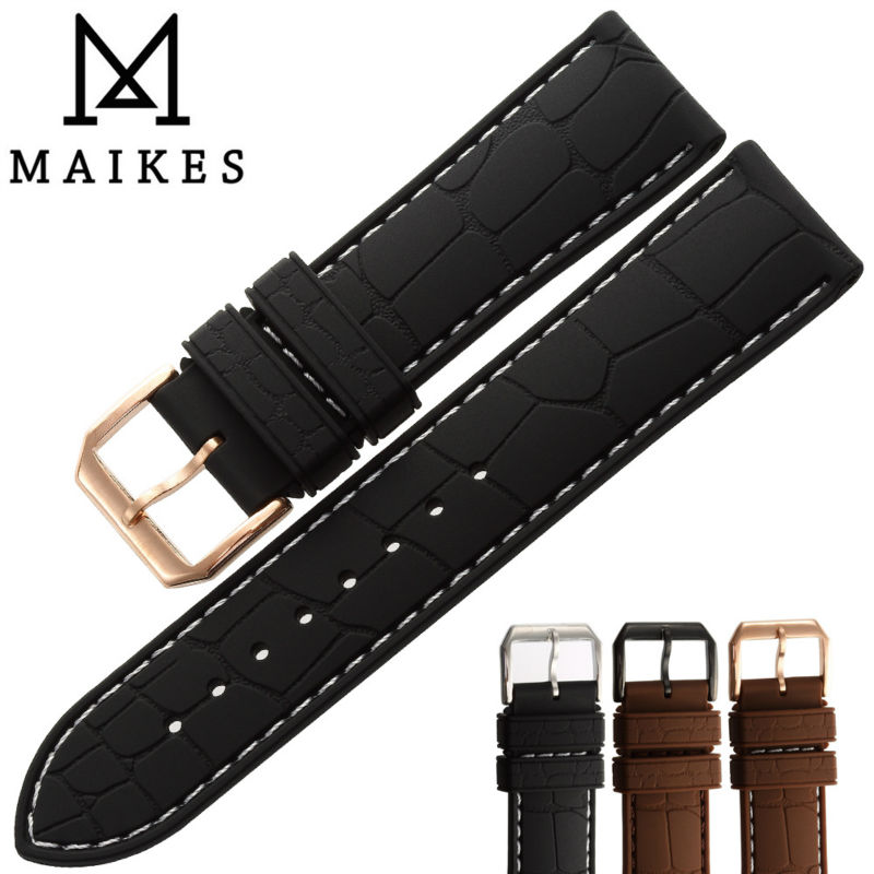 MAIKES Hot Sale New Sports Watches Strap Waterproof Sweatproof Silicone Rubber 22mm 20mm Men Comfortable Watch band(China (Mainland))