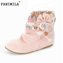 Women Boots Fashion Autumn New Sweet Shoes Woman Casual Big Bow Ladies Lace Floral Vintage Ankle Size 34-43 - Shop1267192 Store store
