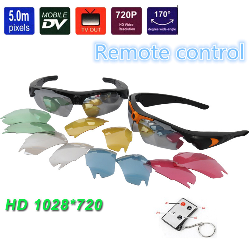 Outdoor HD 720P Sunglasses DVR Camera Action Sunglasses Sport Camera Glasses Camcorder Recorder+Remote control(China (Mainland))
