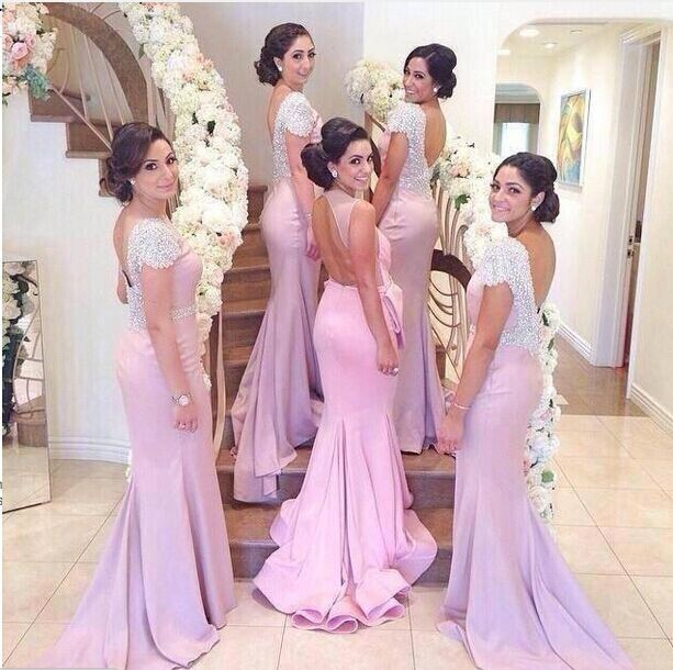 Mermaid Bridesmade Dresses 2016 Beads Pink Wedding Party Dress Long Elegant Vestido De Festa
