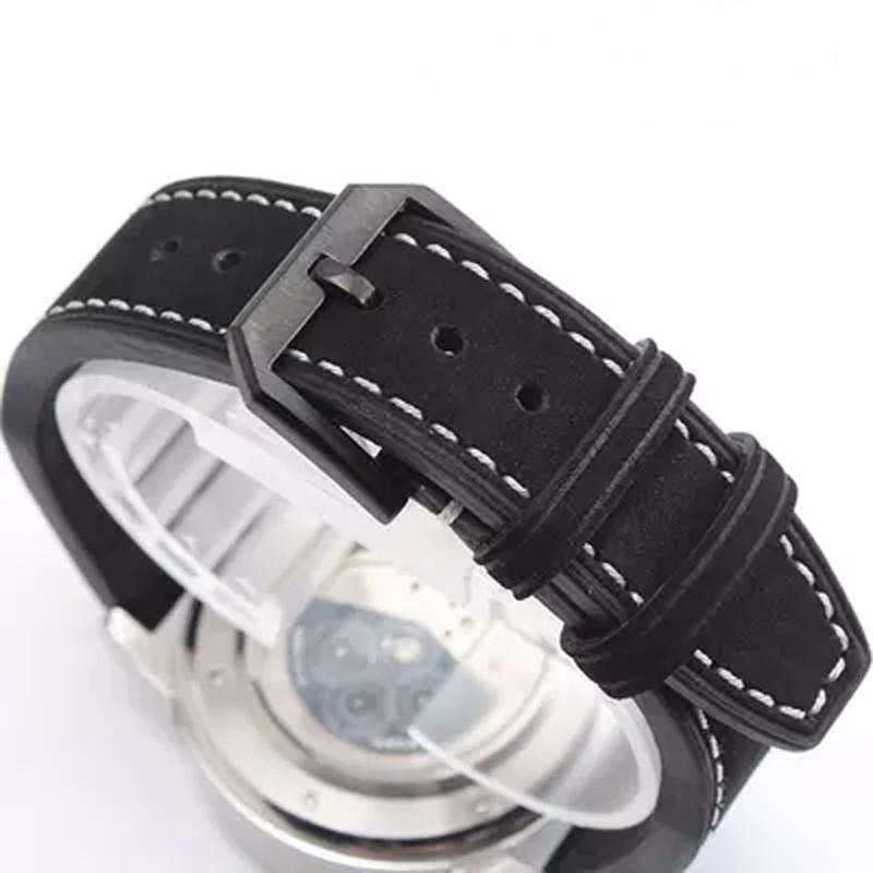 Роскошные группа, Новый черный 21 мм 22 мм из натуральной кожи ремешок, Ремешок для IW C портофино пилот португальский часы, С логотипом