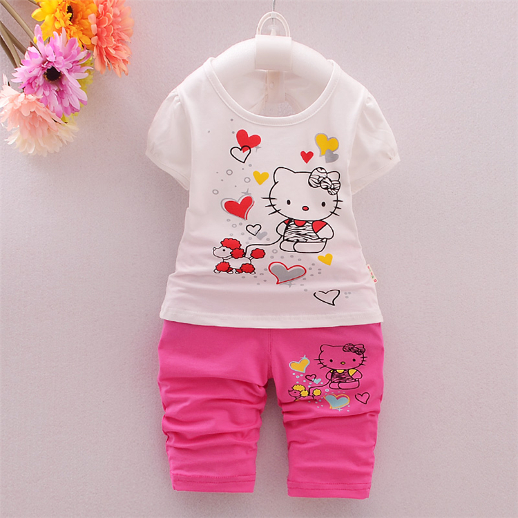 Summer Children Girl Fashion Brand hello kitty Suits Baby Girls T-shirt+pants 2pcs/sets Baby Clothes Sets Vestiti Delle Ragazze(China (Mainland))