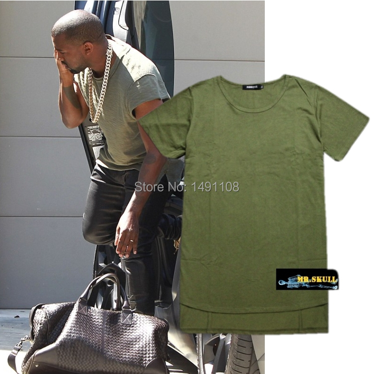 2015 Army green Tshirt men solid t-shirt swag mens plain Tops kanye Hip hop short sleeve undershirt gym shirt sports TEE