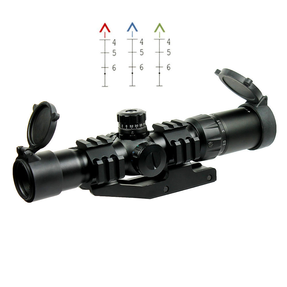 1.5-4X30 Tactical Rifle Scope w/ Tri-Illuminated Chevron Recticle & PEPR Mount for Hunting