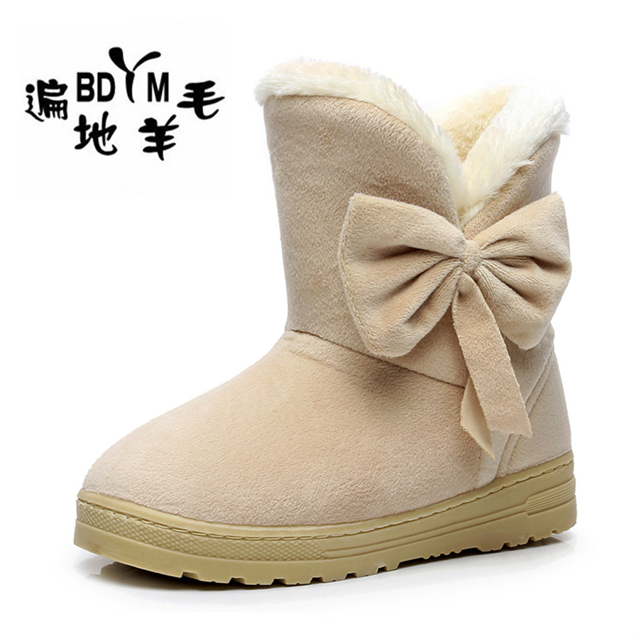 New 2016 Women Winter Bow Snow Boots Fashion Slip-resistant Short Women's Boot Cotton Cute Shoes Fur Inside Warm Ankle Boot(China (Mainland))