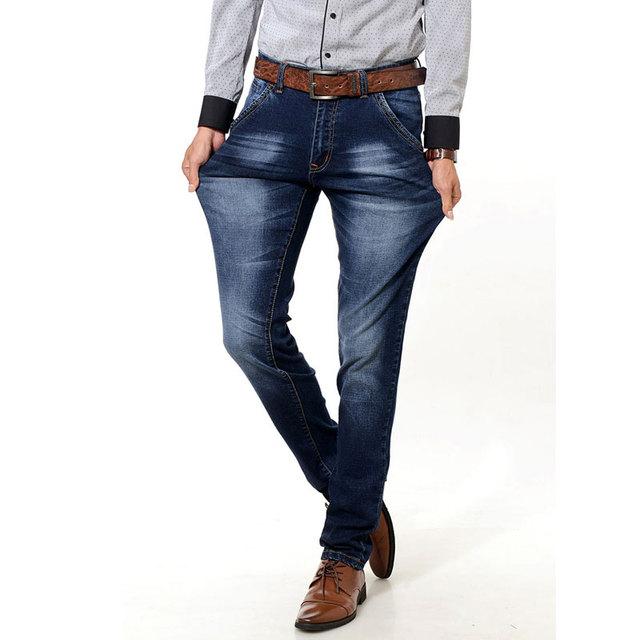 Мужчины дизайнер мода прямо тонкий джинсы классические брюки осень зима упругие длинные ...