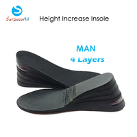 1 Pair PU 4 Layers Taller 8CM UP Air Cushion Height Increase Increasing Elevator Shoe Insoles Pad Lifts Inserts For Man