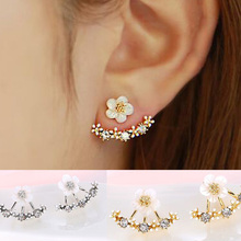 Crystal Stud Earrings Boucle d'oreille Femme 2016 Fashion Flower Earrings for Women Gold Bijoux Jewelry Brincos Pendientes Mujer(China (Mainland))