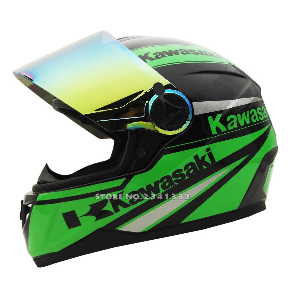 Kawasaki Full Face Motorcycle helmet Racing Moto Motocicleta Capacete Casco Casque Kask Street Helmets 4 Colors Tinted Visor(China (Mainland))