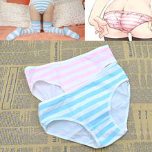 summer style anime women sexy underwear pink/blue and white stripe briefs pants free shipping(China (Mainland))
