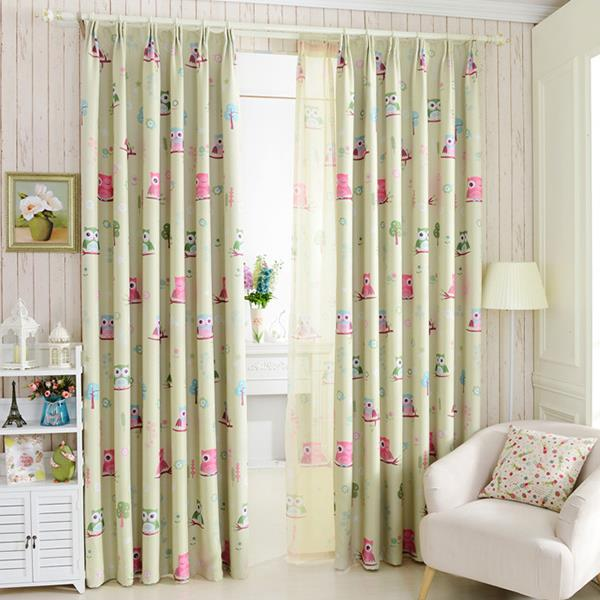 2015 cartoon owl shade blinds finished window blackout curtains for children kids bedroom windows treatments fabric(China (Mainland))