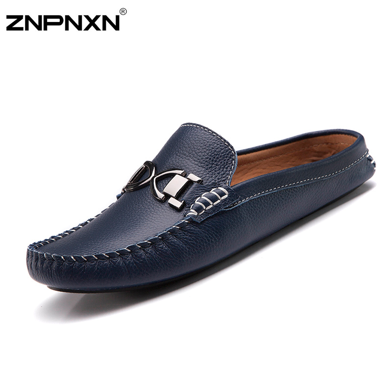 Гаджет  2015 Fashion Shoes Men Casual Leather Half Sandals Top Quality Mens Leisure Slippers Summer Shoes Men Sandalias Fast Shipping None Обувь