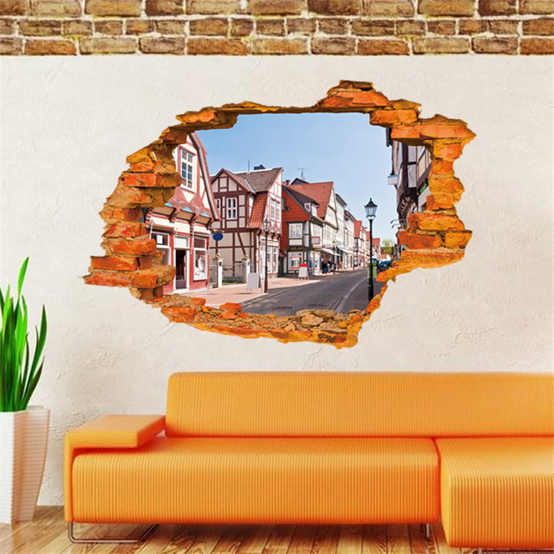 3D Street View Wall Sticker European Style Town wall Stickers Home Decor Living Room Vintage Poster wallpaper Decorative Vinyl(China (Mainland))