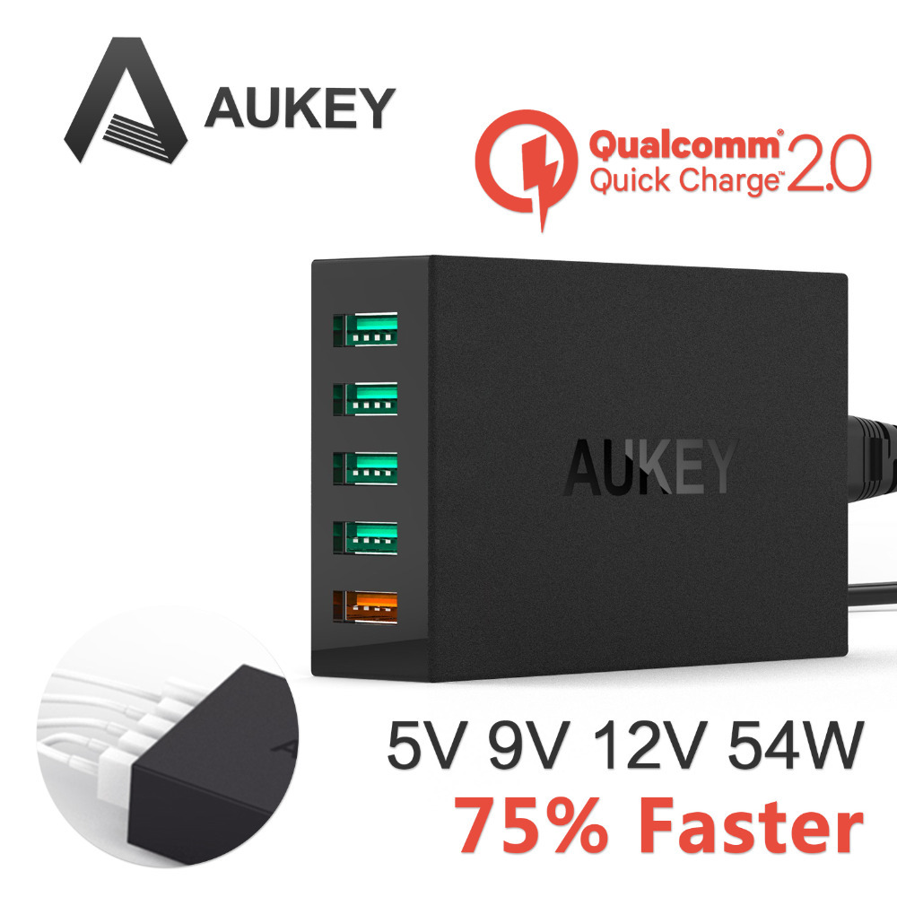 Гаджет  [Qualcomm Certified]Aukey Quick Charge 2.0 54W 5 Ports USB Desktop Charging Station Wall Charger QC2.0 Charger Fast charger None Телефоны и Телекоммуникации