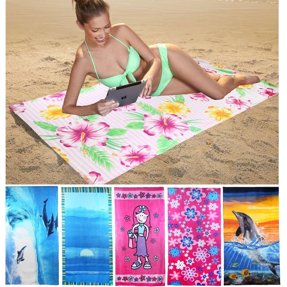 75*150cm 100% Cotton Beach Towel Velour Print Plain Dyed Bath Towels Bathrode Washcloth Toalha de Banho Free Shipping 1pcs/lot(China (Mainland))